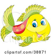 Clipart Illustration Of An Adorable Yellow Green And Red Fish With Blue Eyes