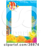 Clipart Illustration Of A Tropical Coral Reef Stationery Border With Blue Water And A Fish by Alex Bannykh