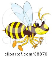 Clipart Illustration Of A Brown And Yellow Hornet