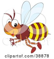 Clipart Illustration Of A Friendly Brown And Yellow Bumble Bee Flying Past