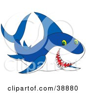 Clipart Illustration Of A Grinning Blue And White Shark