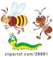 Clipart Illustration Of A Friendly Ant Caterpillar And Bumble Bee by Alex Bannykh