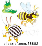 Clipart Illustration Of A Friendly Green Slug Happy Bee And Beetle by Alex Bannykh