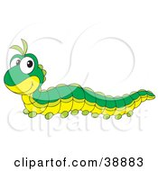 Clipart Illustration Of A Cute Green Caterpillar With A Yellow Belly by Alex Bannykh