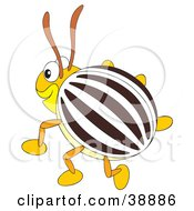 Clipart Illustration Of A Happy Brown White And Yellow Beetle by Alex Bannykh