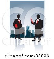 Clipart Illustration Of A Black Silhouetted Corporate Business Men In Suits With Briefcases And Paperwork With A City Skyline