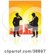Clipart Illustration Of A Black Silhouetted Business Guys In Suits With Briefcases And Paperwork With A City Skyline