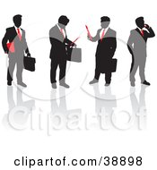 Team Of Black Silhouetted Business Men In Suits With Red Ties Talking On Phones Holding Papers And Briefcases