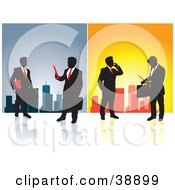 Clipart Illustration Of Silhouetted Businessmen In Front Of A City Skyline On Blue And Orange