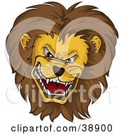 Clipart Illustration Of A Mean Growling Lion Head With A Thick Mane