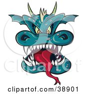 Horned Green Dragon Head With A Long Tongue And Sharp Teeth