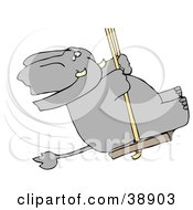 Clipart Illustration Of A Playful Elephant Swinging by djart