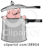 Clipart Illustration Of A Curious Pig Peeking Out Of A Pot