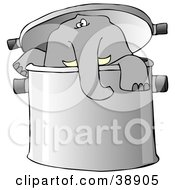 Clipart Illustration Of A Curious Elephant Peeking Out Of A Pot