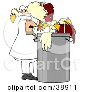Clipart Illustration Of A Chef Stuffing Chickens In A Soup Pot