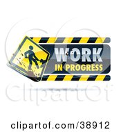 Clipart Illustration Of A Work In Progress Construction Sign With A Yellow Digger Sign