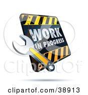 Clipart Illustration Of A Dirty Work In Progress Construction Sign With A Wrench