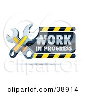 Clipart Illustration Of A Work In Progress Construction Sign With Two Yellow Wrenches