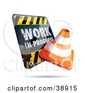 Clipart Illustration Of A Filthy Work In Progress Sign With An Orange Cone by beboy