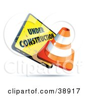 Clipart Illustration Of A Dirty Yellow Under Construction Sign With An Orange Cone