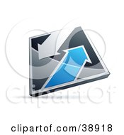 Clipart Illustration Of A Pre Made Logo Of A Chrome And Blue Diamond With Arrows