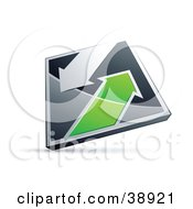 Clipart Illustration Of A Pre Made Logo Of A Chrome And Green Diamond With Arrows