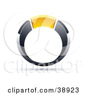 Clipart Illustration Of A Pre Made Logo Of A Chrome And Yellow Ring