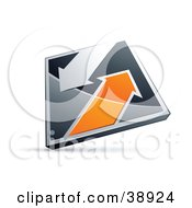 Clipart Illustration Of A Pre Made Logo Of A Chrome And Orange Diamond With Arrows
