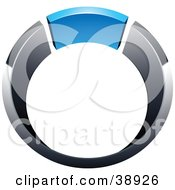 Clipart Illustration Of A Pre Made Logo Of A Chrome And Blue Ring