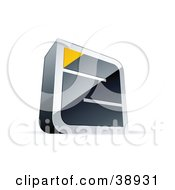 Clipart Illustration Of A Pre Made Logo Of A Chrome Maze With A Yellow Triangle At The End #38931 by beboy