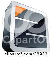 Clipart Illustration Of A Pre Made Logo Of A Chrome Maze With An Orange Triangle At The End