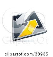 Clipart Illustration Of A Pre Made Logo Of A Chrome And Yellow Diamond With Arrows