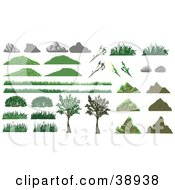 Clipart Illustration Of Boulders Rocks Grass Plants And Trees