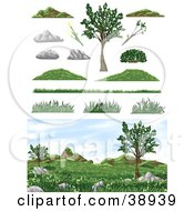 Clipart Illustration Of A Natural Landscape With Burms Grass And Trees And Design Elements
