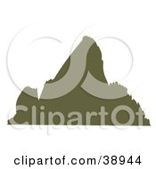 Clipart Illustration Of A Brown Silhouetted Steep Mountain