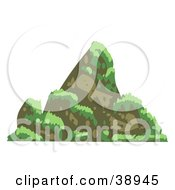 Clipart Illustration Of A Steep Mountain With Grass On The Side