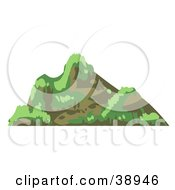 Clipart Illustration Of A Craggy Mountain With Grass