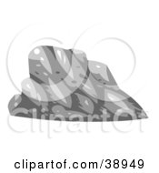 Clipart Illustration Of A Gray Lopsided Boulder