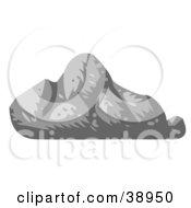 Clipart Illustration Of A Gray Triangular Boulder