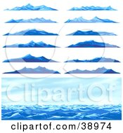 Clipart Illustration Of A Seascape Scene And Twelve Different Blue Ocean Waves Or Mountains