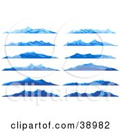 Clipart Illustration Of Twelve Different Blue Ocean Waves Or Mountains by Tonis Pan