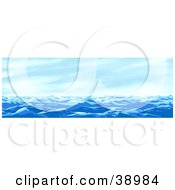 Clipart Illustration Of A Seascape Of Blue Waves Under A Blue Sky by Tonis Pan