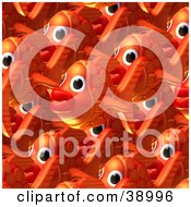 Clipart Illustration Of A Background Of Crowded Orange Fish Schooling