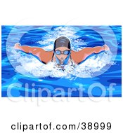 Woman In Goggles And A Swim Cat Doing The Butterfly While Swimming
