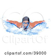 Professional Female Swimmer Wearing A Swim Cap And Goggles