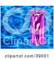 Eautiful Young Woman In A Bikini Tanning And Floating On An Air Mattress In A Pool With Rippling Blue Water