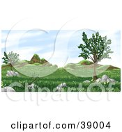Clipart Illustration Of A Grassy Landscape With Trees Plants Hills And Boulders