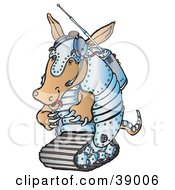 Clipart Illustration Of A Robotic Armadillo In Metal Armor And A Transmitter by Snowy