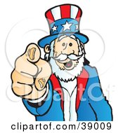 Clipart Illustration Of Uncle Sam Grinning And Pointing Outwards by Snowy #COLLC39009-0092