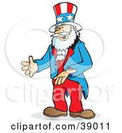 Clipart Illustration Of Uncle Sam Gesturing With His Hands Or Presenting An Item